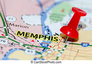 tn, ville, memphis, épingle, carte