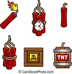 Tnt and dynamite set - Set with tnt, explosive, detonator...