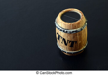 TNT barrel detail - TNT barrel toy object detail on black...