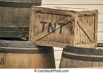 TNT box - Old fashioned TNT box with barrels.