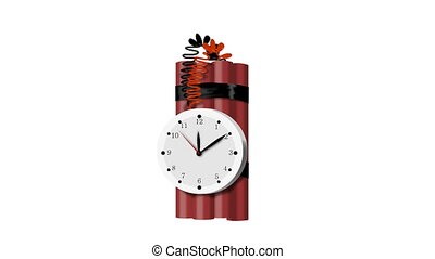 2d video animation of a stick of TNT bomb explosive with timer stopwatch ticking on isolated white background.
