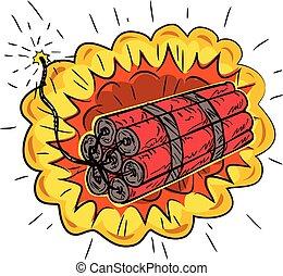 tnt, lit sicherung, explodieren, dynamit, zeichnung, stock