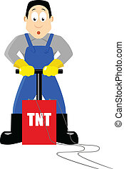 TNT - A cartoon figure being ready to detonate TNT