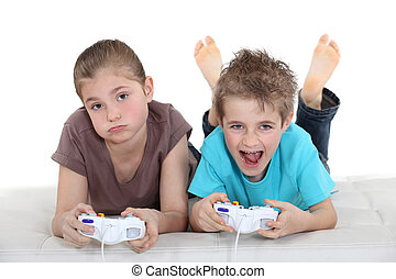 to, børn, boldspil spille video