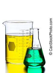 to, beakers, hos, grønne, og, gul, væsker