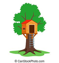 to build a wooden children treehouse. flat vector ...