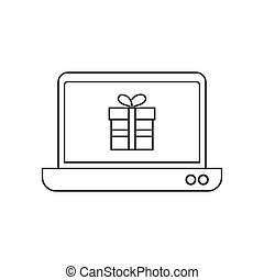 To buy an online gift with laptop icon vector illustration. Free Royalty Images.