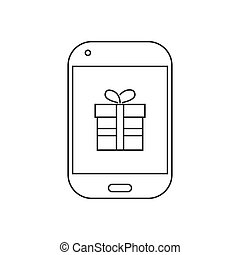 To buy an online gift with phone icon vector illustration. Free Royalty Images.