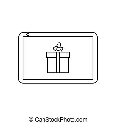 To buy an online gift with tablet icon vector illustration. Free Royalty Images.