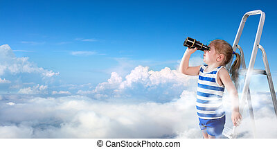 To Discover New Horizons - Little Girl With Binoculars On...