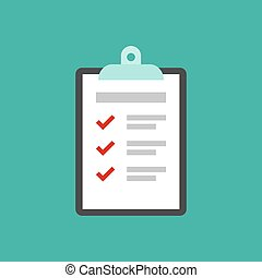 To-do check list with ticks and points. Clipboard with check marks.flat icon isolated on blue.