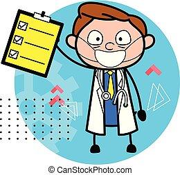 to-do, doutor, lista, ilustração, vetorial, relatório, caricatura