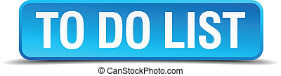 To do list blue 3d realistic square isolated button