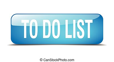 to do list blue square 3d realistic isolated web button