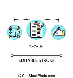 To do list concept icon. Making checklist idea thin line illustration. Time management tool. Daily planning. Task prioritizing and scheduling. Vector isolated outline RGB color drawing Editable stroke