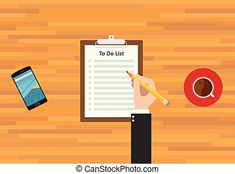 to do list smartphone work and coffee