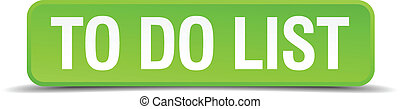 to do list green 3d realistic square isolated button