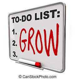 To-Do List - Grow Word on Dry Erase Board - The word Grow ...