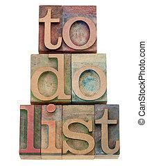 to do list headline in letterpress type - to do list - task...
