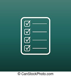 To do list icon. Checklist, task list vector illustration in flat style. Reminder concept icon on green background.