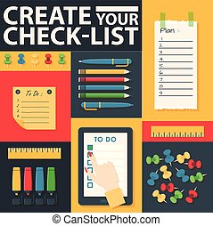 To do list or planning icon concept vector illustration. Create your check-list. Tablet with check marks, gaps for text, pens, pencils and markers. Hand clicking on task with stationery banner.