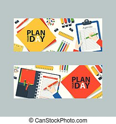 To do list or planning icon concept vector illustration. Paper sheets with check marks, gaps for text, pens, pencils and markers. Hand writing in notebook with stationery banner.