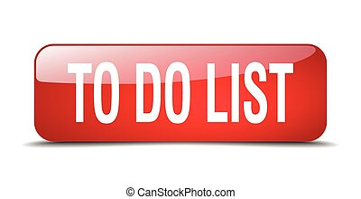 to do list red square 3d realistic isolated web button