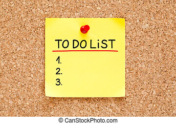 To Do List Sticky Note - To Do List handwritten on yellow...
