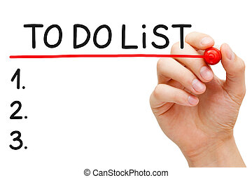 To Do List - Hand underlining To Do List with red marker...