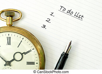To do list - Vintage clock on a notepad