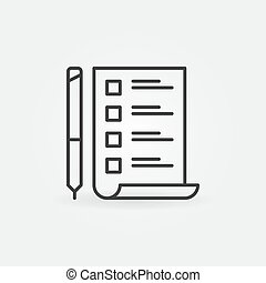 to do list with pen vector minimal icon in thin line style