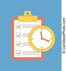 To do list with time. Vector flat cartoon icon illustration