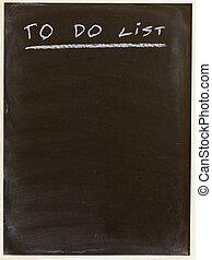 list - to do list written on a blackboard
