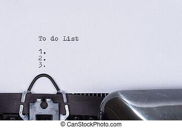 To do list written on an old typewriter