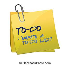 to-do lista, begrepp, på, a, post-it
