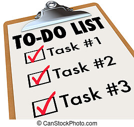 to-do lista, uppgifter, skrivplatta, checkmark, ord, minns,...