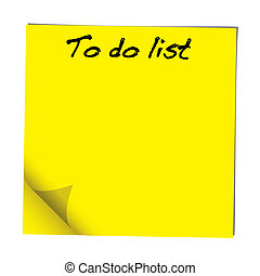 to do note - Yellow stick note paper with to do list hand ...
