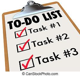 to-do, uppgifter, minns, checkmark, lista, skrivplatta, mål...