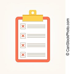 To do voting check list with red cross. Vector flat cartoon illustration