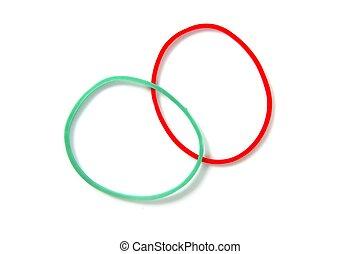 to, farve, cirkel, gummi bands, gadekrydset