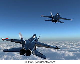to, fighter, jetter, skyerne