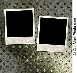 to, fotografi indrammer, på, militær, grunge, baggrund