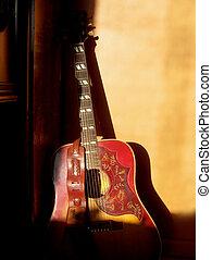 to, gitara, stary