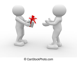To give - 3d people - human character -gives a gift box. 3d...