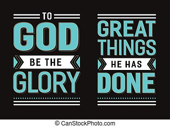 To God Be the Glory Great things He has Done Gospel Hymn Lyrics Vector Poster Set