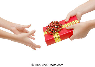 To hand a gift isolated on white