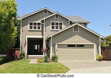 to historie, enlig familie hus, hos, driveway