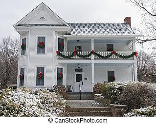 to historie, hjem, hos, sne, hos, jul