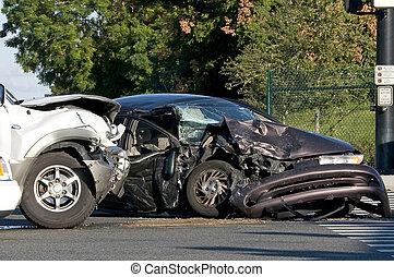 to, køretøj, ulykke, hos, en, fortravlet, gadekrydset