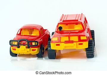 to, legetøj vogner